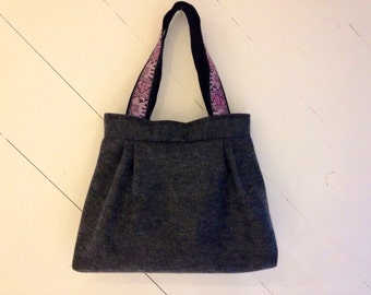 Charcoal Gray Pleated Felt Tote with Pink Elephant Straps