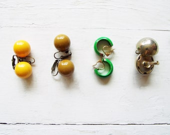4 pairs Vintage Clip Earrings Mustard Yellow, Olive Brown, Kelly Green and Silver Dome