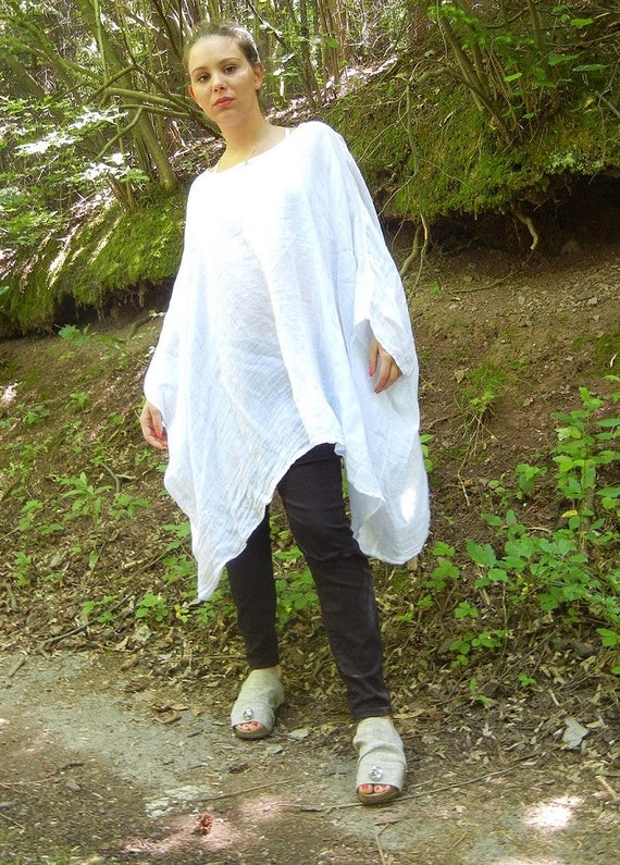 Linen White Summer Tunic, Oversized Loose Top, Fresh Wide Beach Tunic, Ample xxxl Top, Lagenlook Dress Tunic