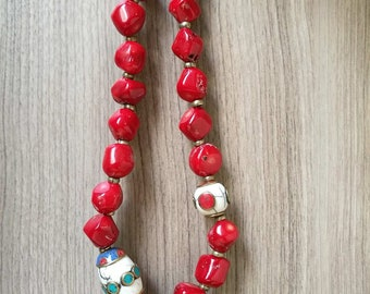 Tibetan  Handmade beads and  Red Coral  Bohemian necklace Gypsy Jewelry