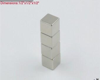 "4-Ct  (Free Shipping) Neodymium N45 NdFeb 1/2"" Cube Magnets"