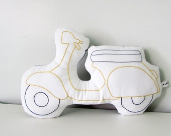vespa cushion, scooter shaped pillow, MADE TO ORDER