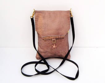 Copper Snakeskin Genuine Leather, Embossed,  Extra Large Cell Phone Purse with Flap
