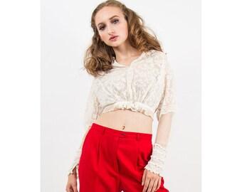 Antique blouse / Vintage Edwardian era net lace cropped blouse / Sheer Bobinette XS