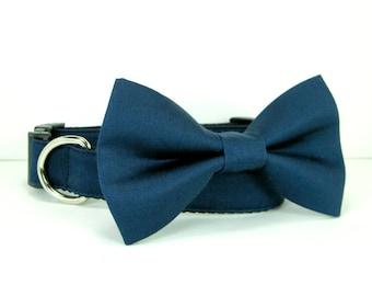 Wedding dog collar-Navy Dog Collars with bow tie set  (Mini,X-Small,Small,Medium ,Large or X-Large Size)- Adjustable