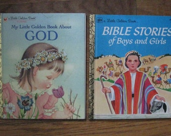 Two Little Golden Books - My Little Golden Book About God & Bible Stories of Boys and Girls