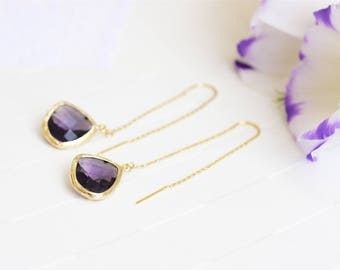 Purple drop earrings, Gold and Purple earrings, Purple bridesmaids jewelry, Purple earrings, Amethyst drop earrings, Purple wedding jewelry