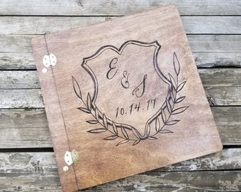 Rustic Wedding guest book, wooden guestbook, wedding guest book alternative, laurel birch book, personalized guestbook, picture guest book
