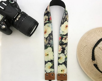 NuovoDesign tasteful and unique 'Blossoms by the night' tie dyed camera neck strap