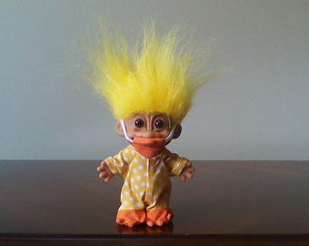 "Vintage Russ Troll Doll Duck Yellow Hair Trolls 5"""