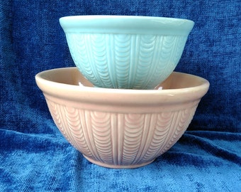 McCoy Mixing Bowls Nesting Set of 2 Turquoise and Pink Pottery USA Pottery Bowls