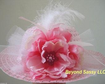 Girls Easter Pink Swarovski Crystal Flower Feather Tea Party Derby Straw Hat