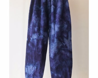 Hand Dyed Cotton Sweatpants in Deep Space, Anna Joyce, Portland, OR. Tie Dye, Blue, Cuffs