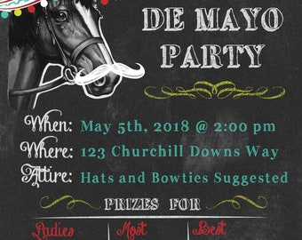Kentucky Derby Party Derby De Mayo Cinco De Derby Preakness Stakes Belmont Stakes Invitation Printed or Digital Available too