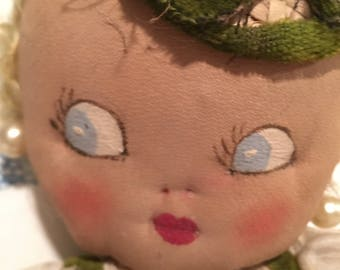 Vintage 1940's cloth doll. Painted face