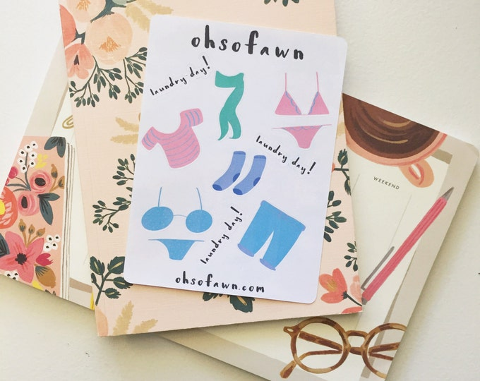 Hand Drawn Laundry Planner Stickers