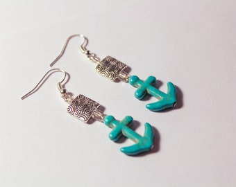 Turquoise Anchor Earrings, Anchor, Nautical Jewelry, Nautical Earrings, Earrings, Turquoise, Silver Earrings, Silver, Anchor Jewelry