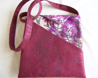 Purse, Small but Mighty, Handcrafted of Faux Suede in Maroon Colors for Women, Ladies, Teen Girls