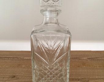 Vintage Cut Glass Whiskey Liquor Decanter