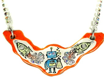 Robot and Rockets Sparkle Surly Ceramic Necklace with Rhinestone Chain in Orange