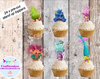 24 x Edible Pre Cut Trolls stand up cupcake toppers