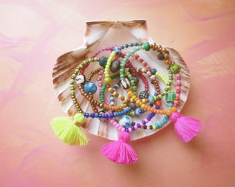 Bright beaded stacking bracelet mix set of four