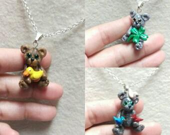 Teddy Bear with Bunny necklace, clover teddy bear, Teddy bear necklaces, Bear jewelry, duck pendant,Valentine's Day gifts, Teddy bear jewelr