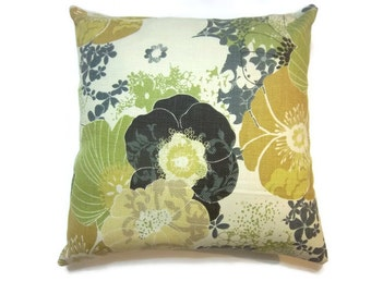 Decorative Pillow Cover Green Chartreuse Mustard Yellow Charcoal Gray  Black Ecru White Handmade Toss Throw Accent Covers 18x18 inch x