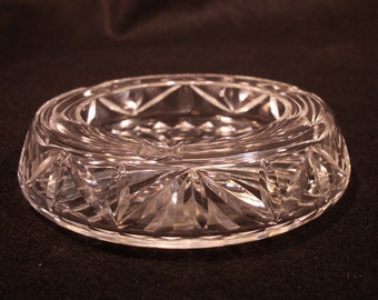 Vintage Mid Century Cut Crystal Ash Receiver - Ash Tray Perfect for Fathers Day Mothers Day Housewarming Retirement