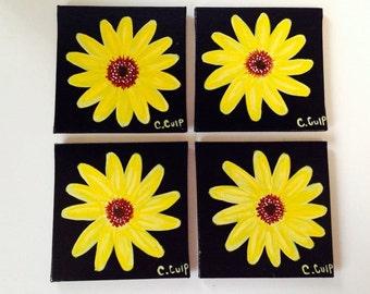 coasters, custom coasters,hand painted coasters, sun flower coasters, flower coasters,yellow coasters,black coasters