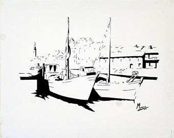 "Monochrome painting - ""Port and blue boats""."
