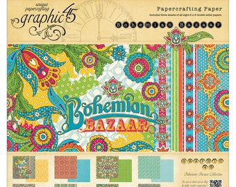 BOHEMIAN BAZAAR by Graphic 45 - 8x8 Paper Pad Only  - Rare and RETIRED Collection -