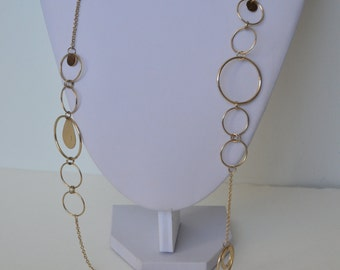 Vintage Gold Tone Hoop Loop Circle Chain Link Necklace 32""