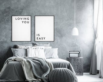 Loving You Is Easy, Couples print, Love print, Couples poster, Love quote, Love poster, Bedroom decor, Bedroom print, Anniversary gifts, set