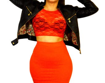 Orange Midi Pencil Extra Long Skirt
