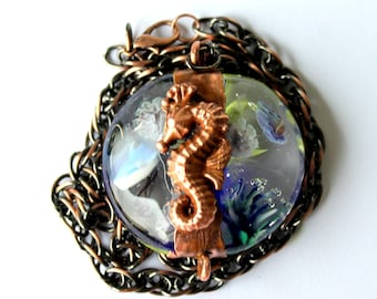 Hand Twisted lampwork glass pendant-Artist Pearl-electroformed-galvanized-copper-seahorse-jellyfish