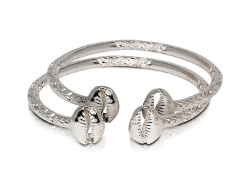 Solid .925 Sterling Silver Cowrie Shell Bangles (Pair) (Made in USA)