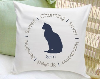 Personalized Cat Throw Pillow - Cat Silhouette Throw Pillow - Cat Lover Gifts - GC1323 BLUE
