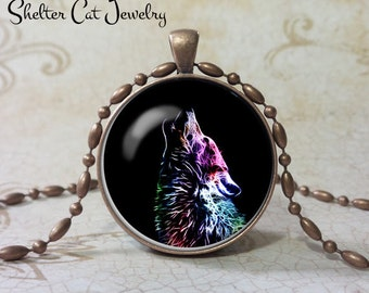 "Wolf Necklace - 1-1/4"" Circle Pendant or Key Ring - Handmade Wearable Photo Art Jewelry - Nature Art - Wolf in Fractals - Gift"