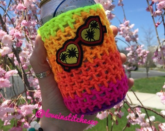 Sunglasses beer cozy, Tropical sunset can cozy, bottle cozy, heart shaped sunglasses can cozy, orange purple pink color