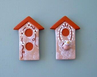 magnet,  refrigerator magnets, ceramic birdhouse magnets, set of two magnets