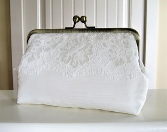 Ivory Eyelash Lace Clutch,Bridal Accessories,Wedding Clutch,Bridal Clutch,Bridesmaid Clutch