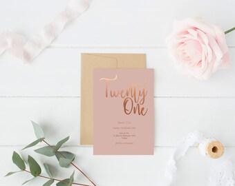 Copper foil invite Etsy