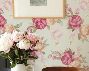 Peony Pattern Wallpaper, Removable Wallpaper, Peony Wallpaper, Peony Wall Sticker, Peony Wall Decal,  Peony Self Adhesive Wallpaper, 050