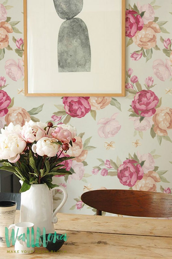 Peony Pattern Wallpaper Removable