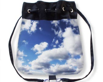 Sky Backpack-Clouds Backpack-Blue & White Cinch Bag-Sky Cinch Bag-Drawstring Purse-Cinch Sack-Messenger Bag-Crossbody Cinch Bag