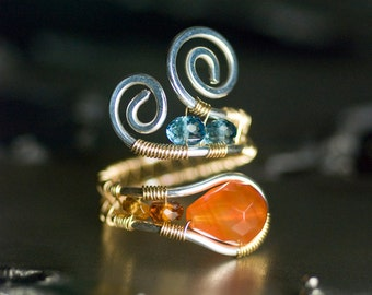 LUXE Red Agate Ring, Blue Topaz, Gemstone 14K Gold Argentium Silver, Honey Gold Tundra Sapphire, Sky Blue Topaz, Wire Wrapped, Mossandmist