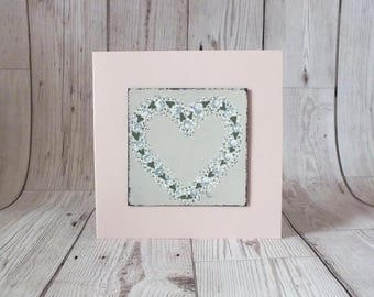 Hand Painted Floral Heart Card - Greetings Card, Anniversary, Wedding, Mother's Day, Birthday
