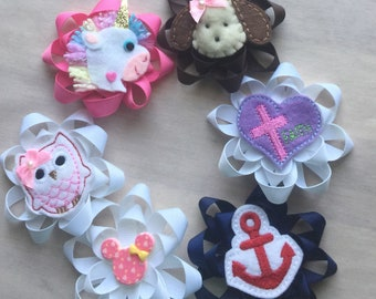 Lot of Ribbon flower hair clips with appliqué centers baby girls hair bows