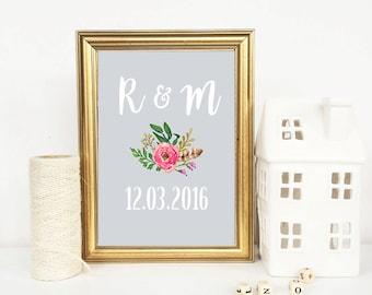 Personalised Wedding date print, Printable Anniversary Gift, wedding gift, Home Decor, wall art, wedding sign, couples monogram, initials